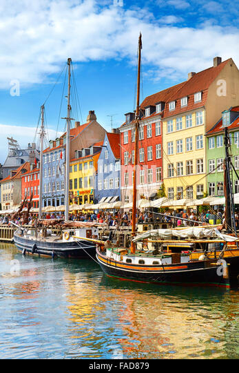 Copenhagen, Denmark - the boat in Nyhavn Canal, - Stock Image