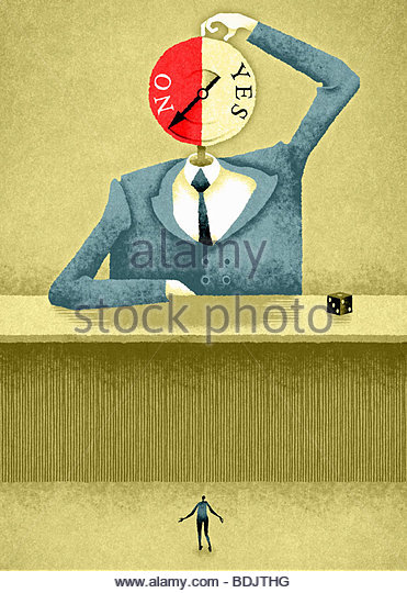 Large businessman with spinning 'yes'/'no' head - Stock-Bilder
