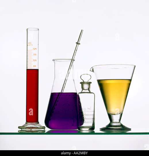 Group of test tubes and beakers in a science lab - Stock Image