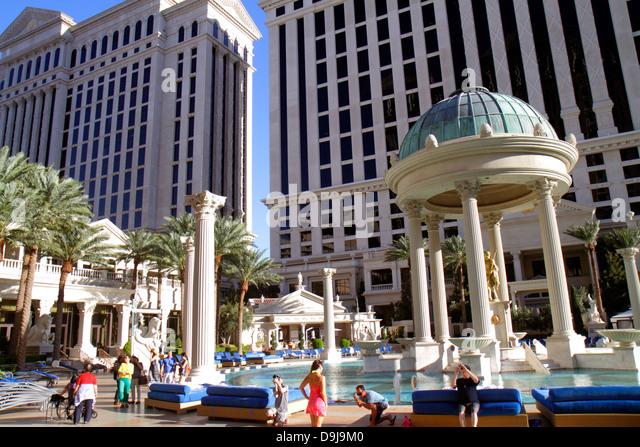 Nevada Las Vegas The Strip South Las Vegas Boulevard Caesars Palace Las Vegas Hotel & Casino swimming pool area - Stock Image
