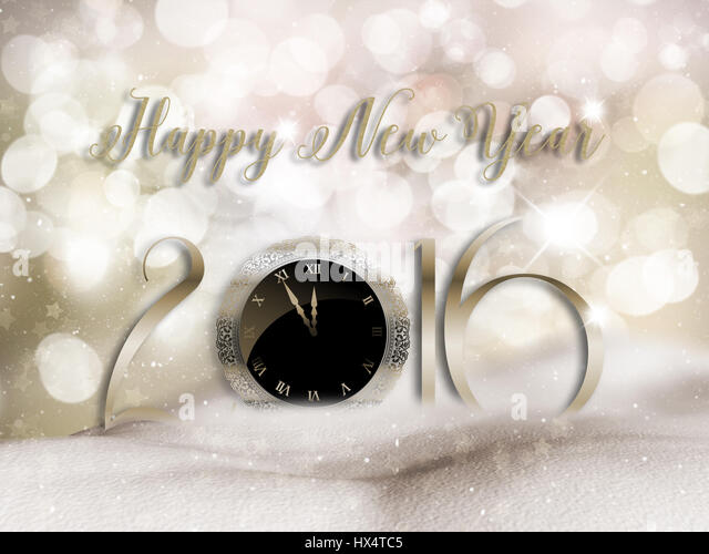 Happy New Year background with mounds of snow - Stock Image