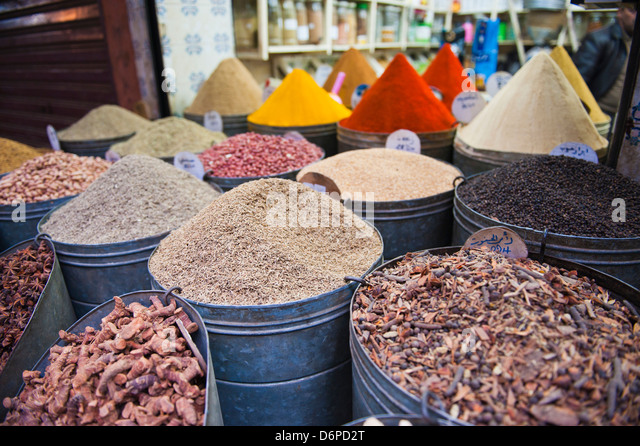 Colourful spices for sale in the Marrakech souks, Morocco, North Africa, Africa - Stock Image