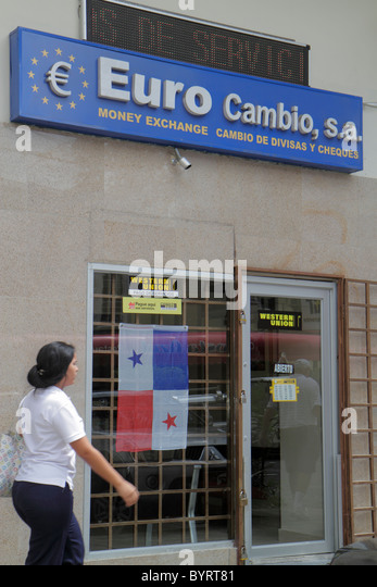 Panama City Panama Area Bancaria Euro Cambio money currency exchange business agency sign entrance door Hispanic - Stock Image