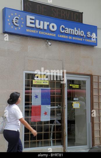 Panama Panama City Area Bancaria Euro Cambio money currency exchange business agency sign entrance door Hispanic - Stock Image