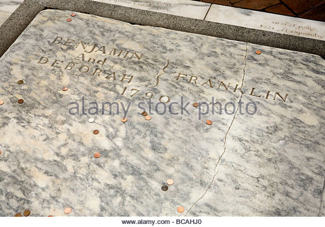 The tombstone of Benjamin Franklin. - Stock Image