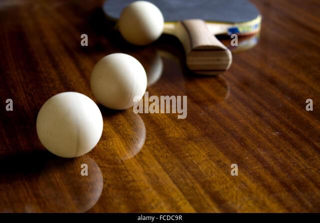 Tennis Table Racket And Balls - Stock Image