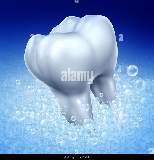 Brushing teeth hygiene concept as a three dimensional human molar tooth being washed with toothpaste soap bubbles - Stock-Bilder