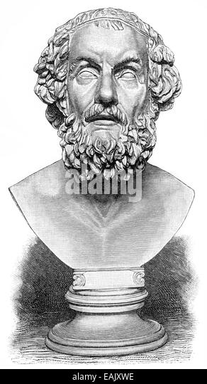 A bust of Homer, poet of antiquity, author of the Iliad and the Odyssey, Büste von Homer, etwa 850 v. Chr., - Stock-Bilder