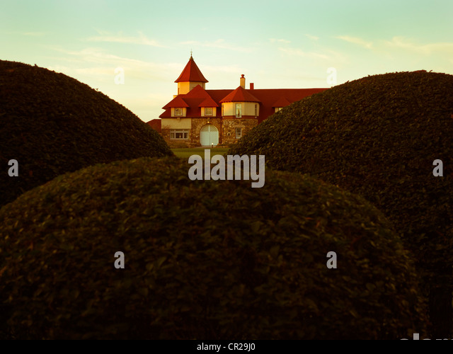 Red roof mansion seen threw hedges. - Stock Image