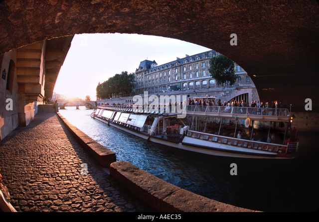 Sightseeing boat on river Seine in Paris France - Stock Image