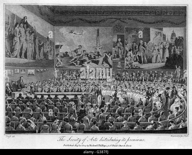 The Society of Arts, founded  in 1754, distributing its  premiums       Date: 1804 - Stock-Bilder