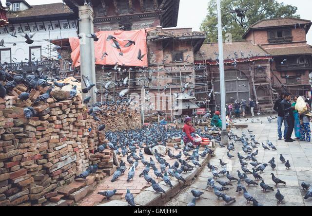 hyperactive pigeons in Basantapur durbar square, Kathmandu - Stock Image
