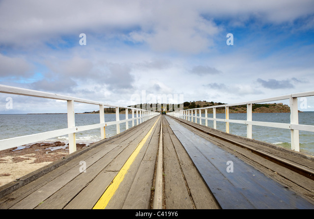 Victor Harbor, Granite Island And Clydesdale-drawn Tram - Stock Image