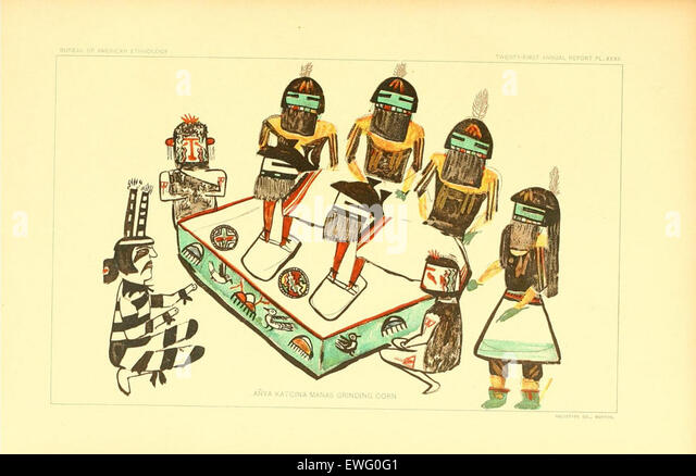 Illustrated Hopi Drawings of Kachinas - Stock Image