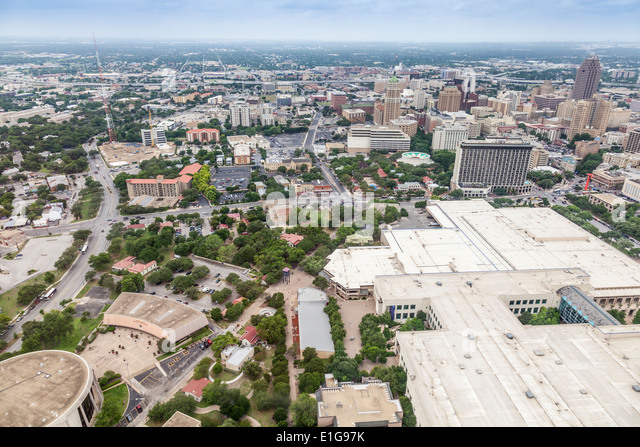 View from the Tower of the Americas in HemisFair Park in San Antonio, Texas. - Stock-Bilder
