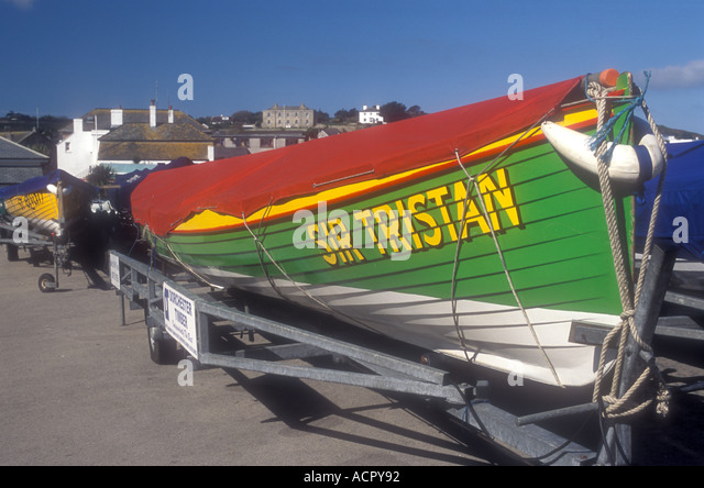 GIG SIR TRISTAN PARKED AT HUGH TOWN ST MARY'S ISLES OF SCILLY - Stock Image