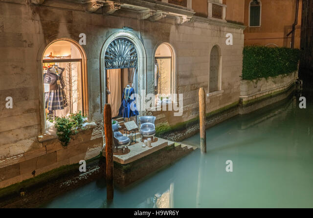 Fashion shop at canal, little balcony,Venedig, Venezia, Venice, Italia, Europe, - Stock Image