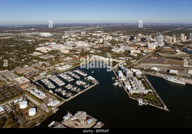 aerial view above marinas skyline St. Petersburg Florida - Stock Image