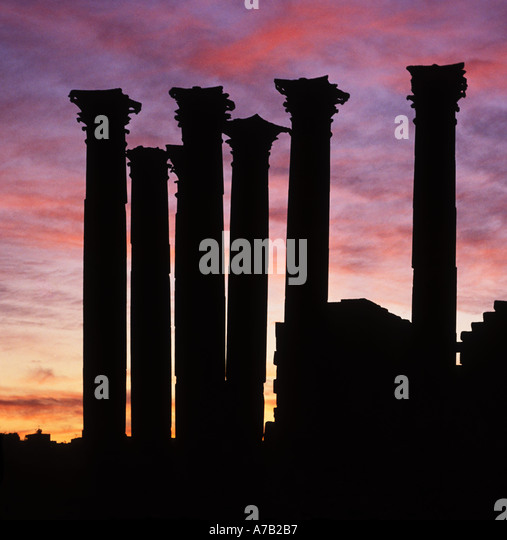 Temple of Artemis country Jerash Jordan at sunset - Stock Image