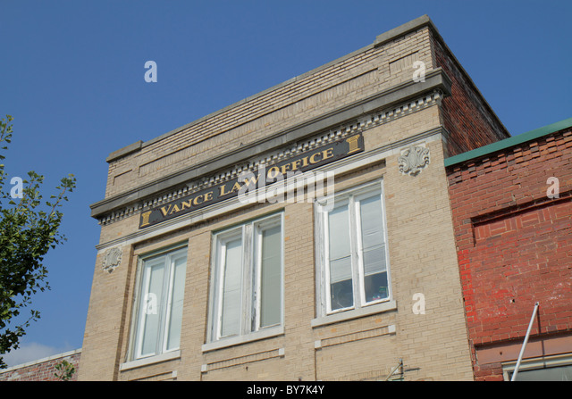 Tennessee Watertown small town historic district building law office business exterior facade brick - Stock Image