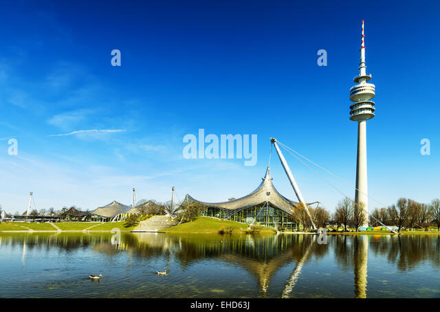 olympiapark, Munich Olympic Stadium and installation, Germany, Europe - Stock Image
