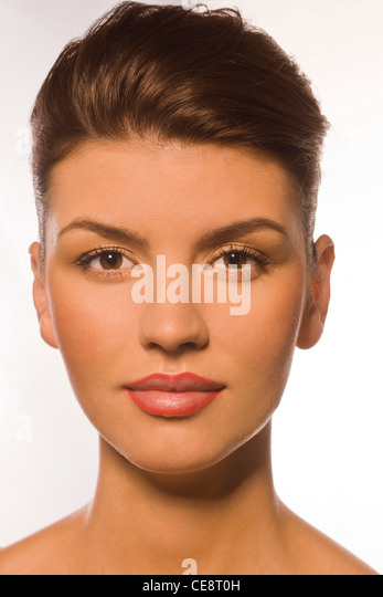 Step 1 - Lips outline with lip-liner - Stock Image