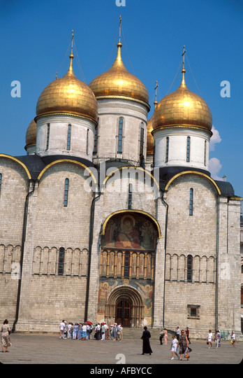 Russia former Soviet Union Moscow Kremlin Cathedral Square Assumption Cathedral - Stock Image