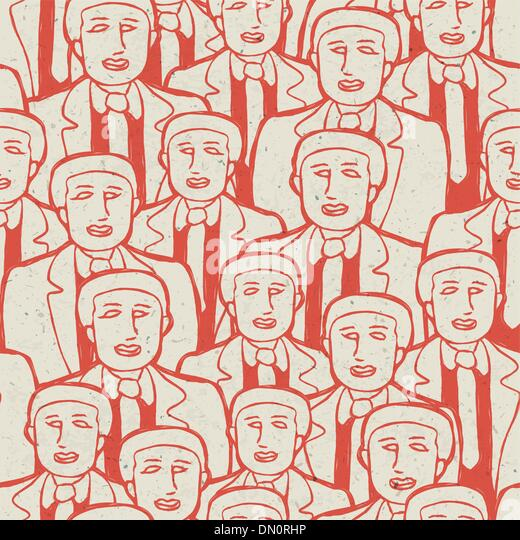 Abstract crowd of business men's. Seamless pattern, vector conce - Stock Image