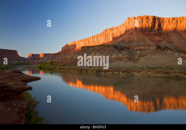 The Green River at the Labyrinth area along the White Rim Trail, Island in the Sky District, Canyonlands National - Stock Image