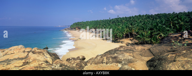 Coconut palms and beach, Kovalam, Kerala state, India, Asia - Stock-Bilder