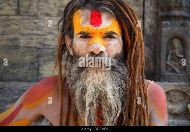 a painted face of a sadhu - Stock-Bilder
