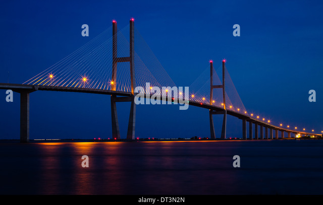 Sidney Lanier Bridge at Twilight, Brunswick, Georgia - Stock Image