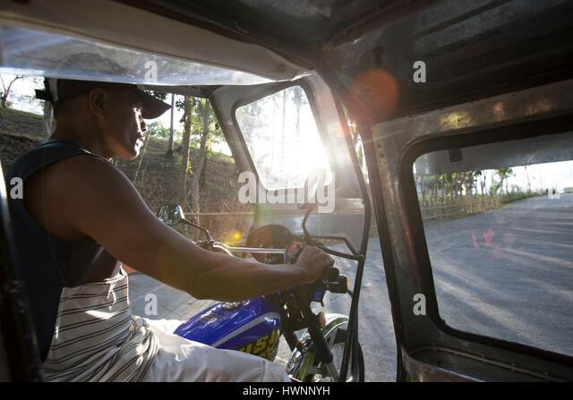 Philippines, Luzon, Sorsogon Province, Donsol, view from a tricycle - Stock-Bilder