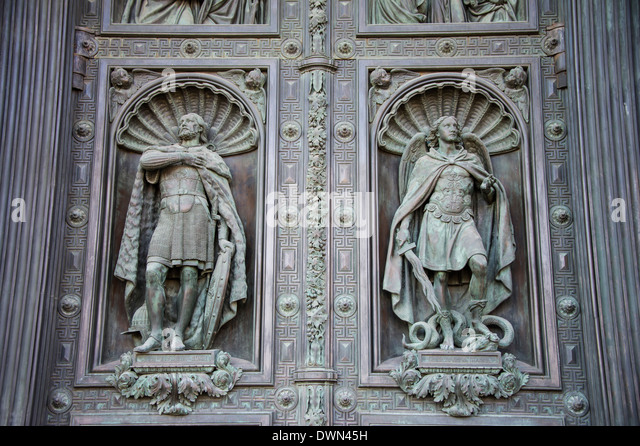 Steel gate at St. Isaac's Cathedral, St. Petersburg, Russia, Europe - Stock Image