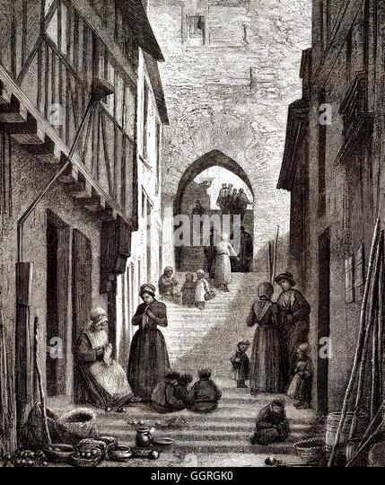 Old stairway L'escalier de grande poterne, Le Mans, France, Europe, 18th century - Stock-Bilder