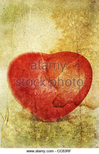 textured red heart - Stock Image