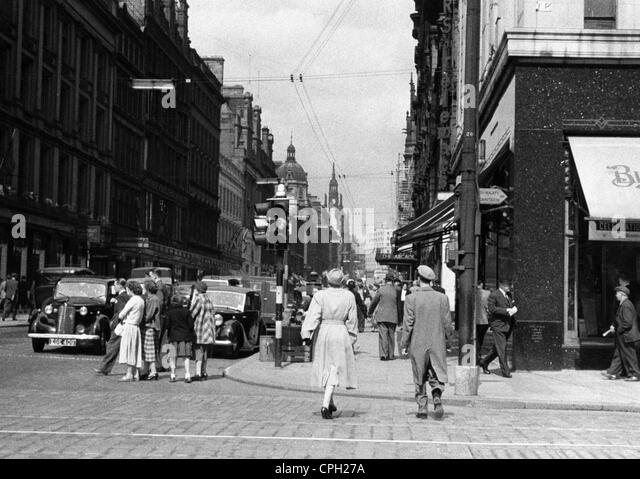 geography / travel, Great Britain, Glasgow, street scenes, Buchanan Street, circa 1950 40s, 1940s, 50s, 1950s, 20th - Stock Image