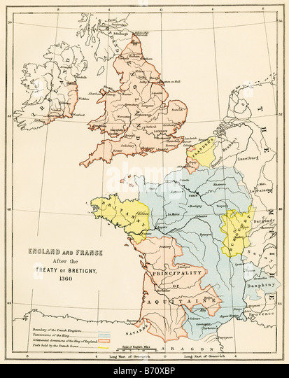 England and France after the  Hundred Years War 1360 - Stock Image