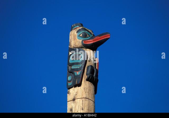 Alaska Totem Juneau Centennial Center - Stock Image