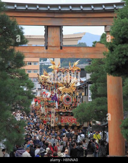 Japan, Gifu, Takayama, festival, crowd, people, - Stock Image