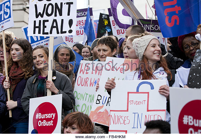 London, United Kingdom. January 9th, 2016. UK, London: Thousands of junior nurses and their supporters march through - Stock Image