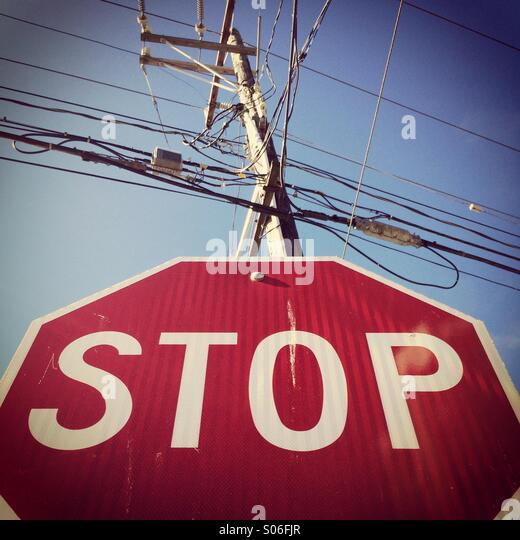 Stop Sign and wires, Seattle, Washington - Stock Image