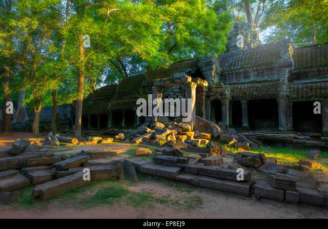 Sunrise over Ta Phrom - Stock Image