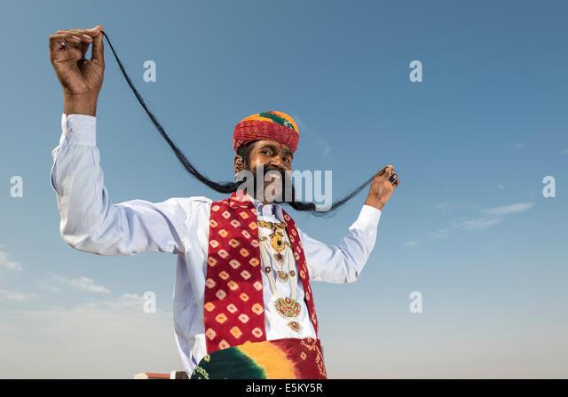 Local man presenting his long mustache, Rajput people, Bikaner, Rajasthan, India - Stock-Bilder