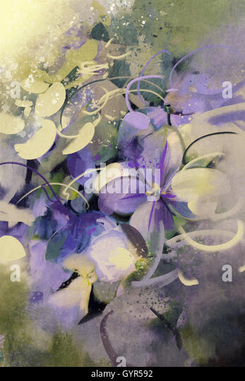 purple flowers with grunge texture in abstract painting style - Stock Image