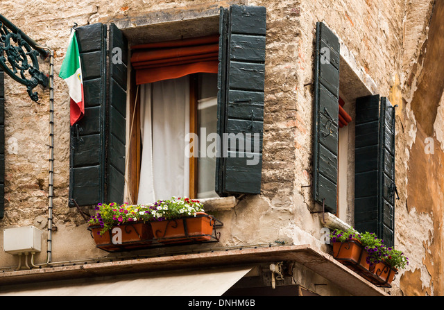 Low angle view of a window box, Venice, Veneto, Italy - Stock-Bilder