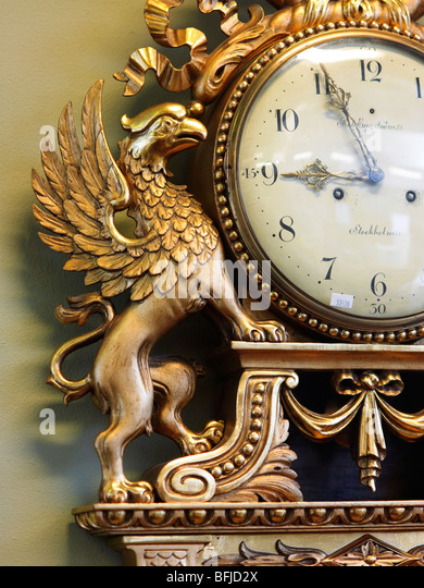 Antique clock, Sweden. - Stock Image