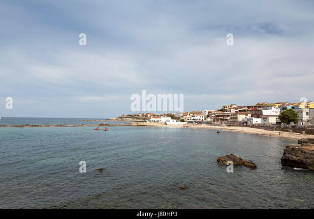 The coastline of Northern Sardinia at Porto Torres - Stock Image