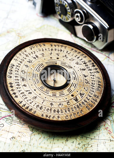 Map, compass, historical, - Stock Image