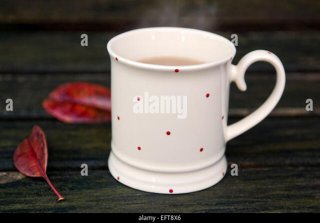 Steaming cup of tea with autumn leaves on bench in garden on a cold winters day - Stock Image